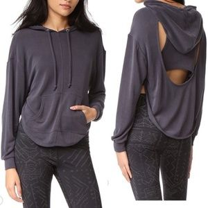 Free People Back Into It Cutout Hoodie Gray